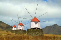 Windmühlen Porto-Santo Stockfoto