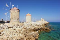 Windmühlen, Rhodos Lizenzfreies Stockfoto