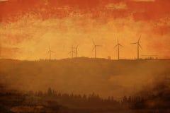 Windmühlen am Sonnenuntergang Obidos portugal stockbild