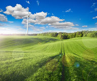 Windmühlen und der Aufflackerneffekt Stockbild