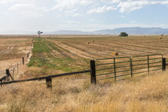 Windmühlen- und Heuballen, Nord-Kalifornien lizenzfreies stockfoto