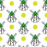 Windmühlen und nahtloses Muster der Sonne Stockfoto