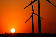 Windmühlen und Sonnenuntergang Stockbild