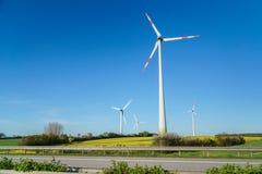 Windmühlen, viele Windkraftanlagen, die im Frühjahr auf Feld mit üppigem grünem Gras, alternative Energiequellen stehen lizenzfreie stockbilder