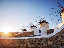 Windmühlen von Mykonos Stockfoto