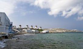 Windmühlen von Mykonos Insel Stockfoto