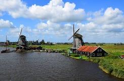 Windmühlen von Zaanse Schans in Zaandem, Holland, die Niederlande lizenzfreie stockfotografie