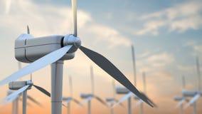 Windmühlenturbinen säubern, Windenergie im Sonnenaufgangsonnenunterganghimmel Grüne Energie stock abbildung