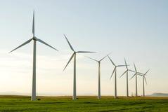 Windmühlen auf Grasland Lizenzfreies Stockfoto