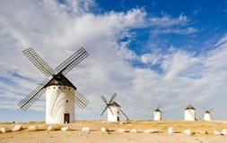 Windmühlen in Campo de Criptana Stockfotos