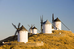 Windmühlen in Consuegra Stockfotos