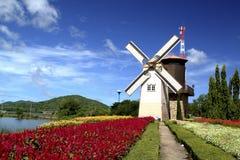 Windmil i trädgården Royaltyfria Bilder