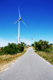 Windmil in road on the mountain, algarve Royalty Free Stock Photo