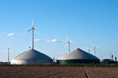 Windmile and biogas plant Royalty Free Stock Images