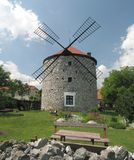 Windmili in moravian village Ostrov Royalty Free Stock Image