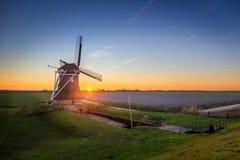 Windmill在日落的de巨人在冬天 库存图片