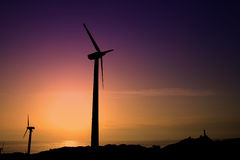 Windmill. A windmill over a mountain Royalty Free Stock Images