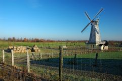 Windmill. With blue sky, early morning Stock Photos