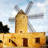 Windmill. A view of a tipical old windmill in mallorca, ballearic islands Stock Photography