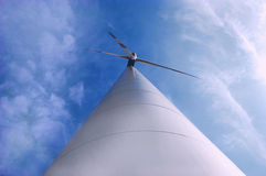 Windmill. Modern windmill from worm's-eye view Royalty Free Stock Photo