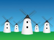 Many old traditional windmill homes vector in open green field and blue sky to mill grain illustration. Many old traditional windmill homes vector in open green vector illustration