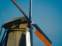 Windmill. Close up in kinderdijk, holland Royalty Free Stock Photography