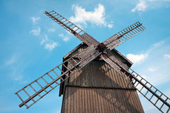Windmill. Old wooden listed Slav windmill (post mill type) in Tykocin, 1887. Podlasie, Poland Royalty Free Stock Images