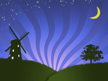 Windmill. The illustrations countryside with windmill very early in the morning Stock Photos