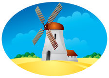 Windmill. Harvest, summer landscape with mill in Royalty Free Stock Photography