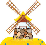 Windmill. An old windmill located on the field with wheat Stock Illustration