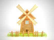 Windmill. Cartoon windmill with a sagging fence and grass. White background Stock Photo