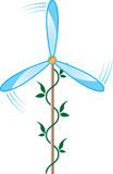 Windmill. Wind turbine blade and a green stalk of the plant Stock Photography