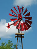Windmill. Red windmill with star stock photo
