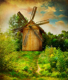 Windmill. Beautiful rural Landscape. Vintage styled Stock Photo
