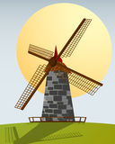 Windmill. Cartoon style background, abstract art Royalty Free Stock Image