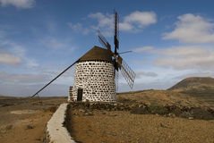 Windmill. On a quiet hill in Fuerteventura Stock Photo
