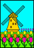 Windmill. Illustration of a windmill among tulips Stock Photos