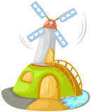 Windmill. Illustration of isolated windmill building on white Stock Image