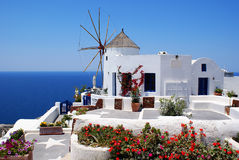 Windmill. And architecture on Santorini island, Greece royalty free stock photography