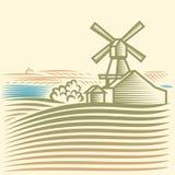 Windmill. Rural landscape with Windmill, Farm Stock Photo