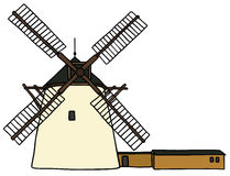 Windmill. Hand drawing of a old windmill Royalty Free Stock Photo