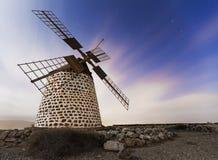 Windmill. Night shot of a windmill on the island of Fuerteventura. Canaries. Spain Stock Photo
