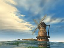 windmill 3d stock illustrationer