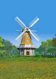 Windmill. The windmill in the forest (3d illustration Stock Photos