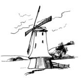 WindMill 5. Old WindMill ized from manual artwork Stock Photography
