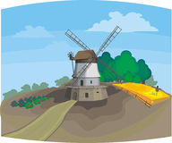 Windmill. There is a raster and vector version Stock Illustration