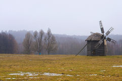 Windmill. In ukranian village at winter time Royalty Free Stock Photography