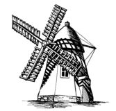 WindMill 6. Old WindMill ized from manual artwork Stock Images