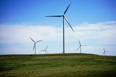 Windmill. In Kansas field for alternative energy Royalty Free Stock Images