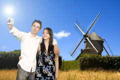 Windmill. In wide field in brittany in france Royalty Free Stock Images